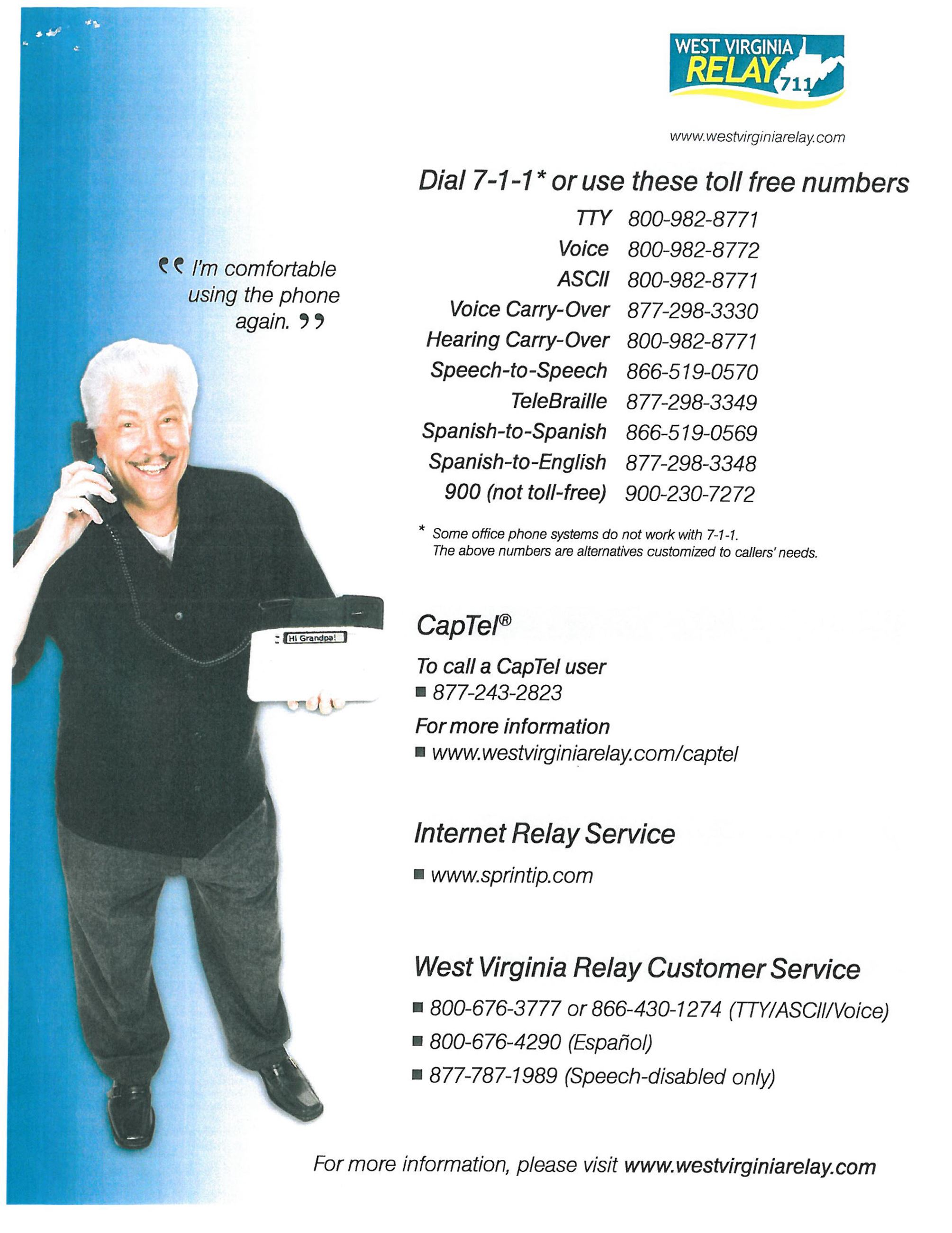 West Virginia Relay Toll Free Numbers